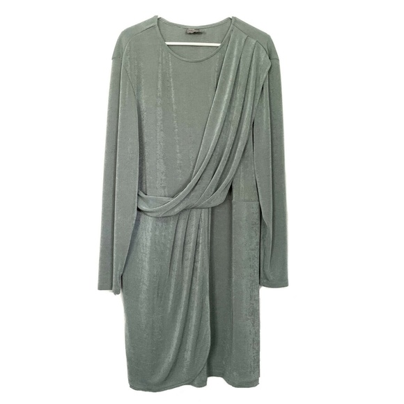 ASOS Dresses & Skirts - ASOS Mint Green Long Sleeve Draped Jersey Dress